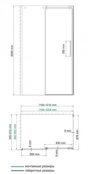 Душевой уголок, прямоугольник, с универсальной раздвижной дверью WasserKRAFT Alme 15R07 (1200x900x2000 мм)
