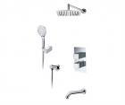 Встраиваемый комплект для ванны с верхней душевой насадкой, лейкой и изливом WasserKRAFT А171519 Thermo