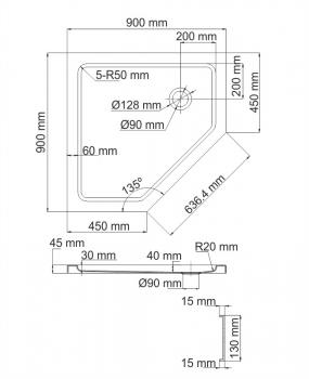 Душевой поддон, прямоугольник WasserKRAFT Isen 26T11 (900х900х175 мм)