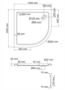Душевой поддон, сектор WasserKRAFT Isen 26T23  (1000х1000х175 мм)