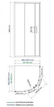 Душевой уголок, сектор, с раздвижными дверьми WasserKRAFT Main 41S01 (900x900x2000 мм)