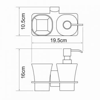 Держатель стакана и дозатора WasserKRAFT Exter K-5289
