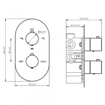 Термостатический смеситель для ванны и душа со встраиваемой системой монтажа WasserKRAFT Elbe 7444