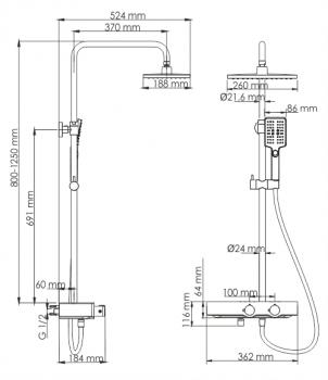 Душевой комплект с термостатическим смесителем WasserKRAFT A11401 Thermo