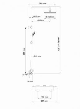 Душевой комплект со смесителем для душа WasserKRAFT A13302 Thermo