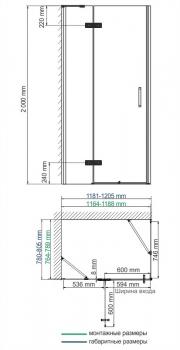 Душевой уголок, прямоугольник WasserKRAFT Aller 10H06LBLACK MATT (1200x800x2000 мм)