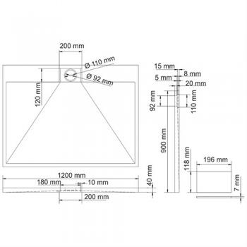 Душевой поддон, прямоугольник WasserKRAFT Alme 15T07 (1200х900х40 мм)