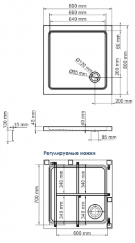 Душевой поддон Amper 29T02 WasserKRAFT (800*800*175 мм)