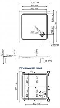 Душевой поддон, квадрат WasserKRAFT Amper 29T19 (1000х1000х175 мм)