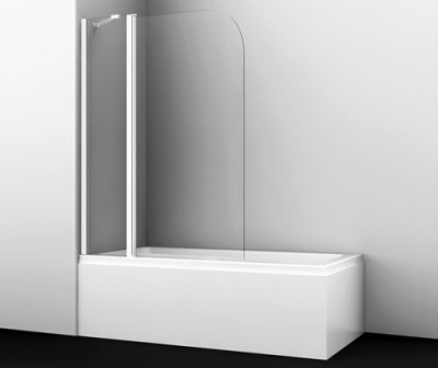 Стеклянная шторка на ванну WasserKRAFT Leine 35P02-110WHITE Fixed (1100х1400 мм)