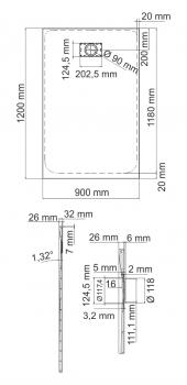 Душевой поддон, прямоугольник WasserKRAFT Leine 35T07 (1200х900х26 мм)