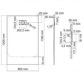 Душевой поддон, прямоугольник WasserKRAFT Main 41T07 (1200х900х26 мм)