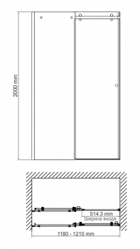 Душевая дверь WasserKRAFT Vils 56R05 (1200x2000 мм)